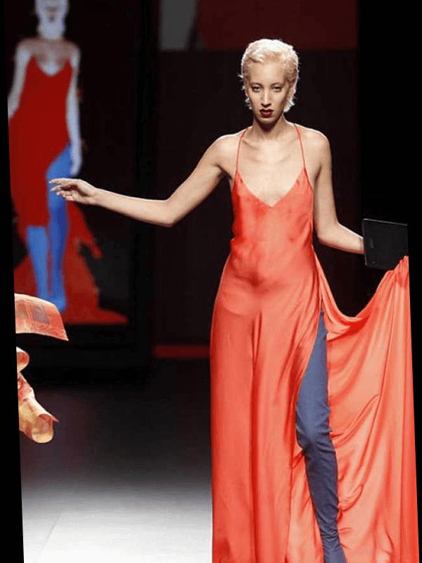 Digital Runway - Skinny blond girl in red dress entering the runway