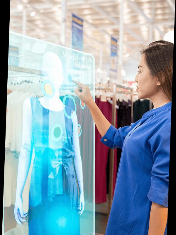 Digital Runway - Woman in Fashion Retail store selecting her virtual dress
